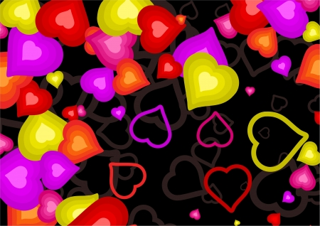 patterned wallpaper: Colourful and pretty wallpaper background pattern made up of red, pink, yellow and orange love heart shapes set randomly against a black backdrop.
