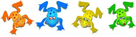 Grupo muy lindo de cuatro ranas de dibujos animados en diferentes colores, cada uno con una expresi�n divertida cara aislado en blanco. Foto de archivo - 13885799