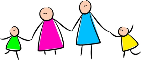 Simple whimsical style illustration of a stick family holding hands together.