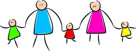 Ilustración simple estilo caprichoso de una familia de palo de la mano juntos.