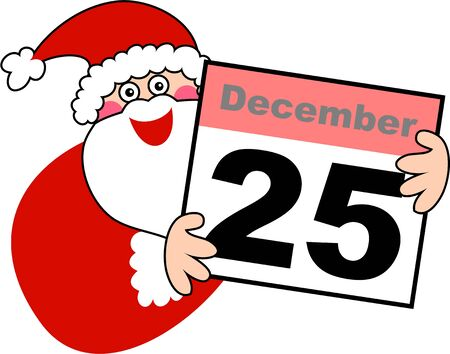 december 25th: Cute illustration of santa claus holding up a calendar displaying the date December 25th  Stock Photo