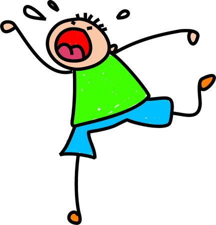 Funny whimsical cartoon of a stick figure little boy having a temper tantrum  Stock Photo
