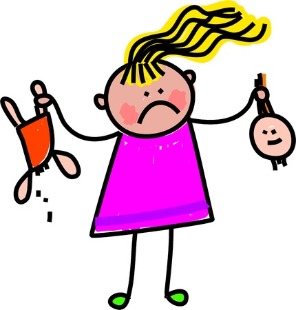 Cute whimsical drawing of a stick figure little girl holding up her broken doll