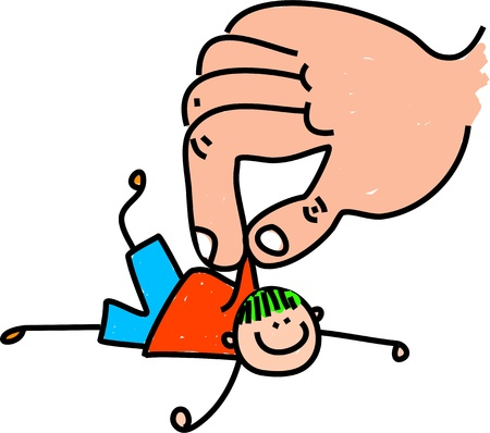 rescued: Cute cartoon whimsical illustration of a little boy being rescued by a giant hand  Stock Photo