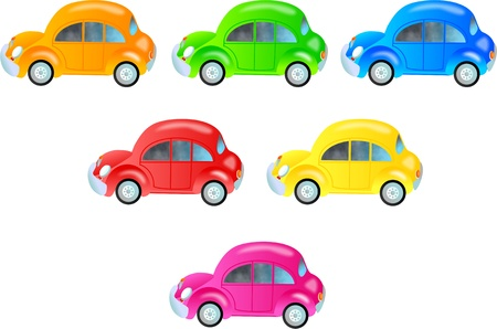 A collection of cute bubble cars in different colours isolated on white  Stock Photo