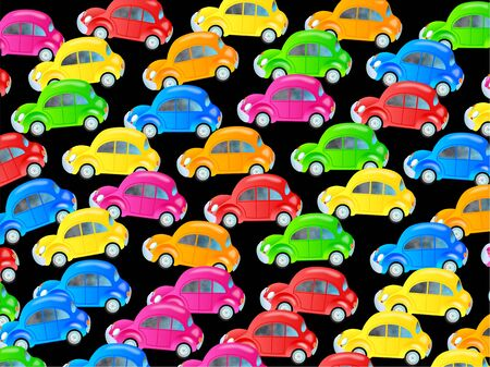 congested: Cute cartoon design made up of colourful bubble cars forming a congested traffic jam wallpaper