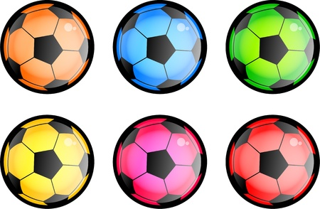 soccer balls: A set of six glossy style soccer balls in different colors isolated on white  Stock Photo