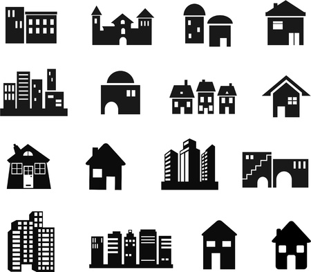 home icon: A set of 16 black building and architectural icons isolated on a white background