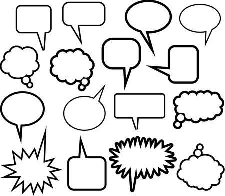 A set of 16 comic speech balloon icons in different shapes isolated on white.
