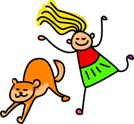 Cute cartoon illustration of a happy stick figure little girl chasing a pet cat
