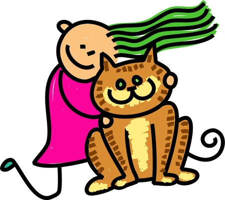 Cute cartoon illustration of a happy stick figure little girl cuddling her pet cat or maybe it s a stuffed toy  illustration