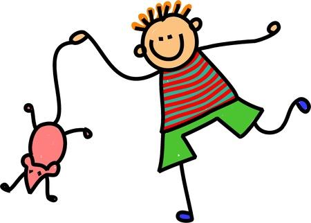it s a boy: Cute cartoon illustration of a happy stick figure little boy dangling a mouse by it s tail