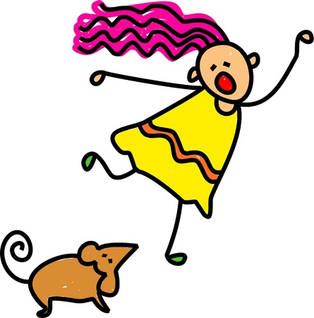 stick children: Cute cartoon illustration of a happy stick figure little girl running away screaming at the sight of a wild mouse. Stock Photo