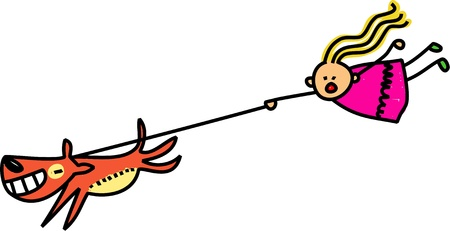 Cute stick figure illustration of a little girl being taken for a walk by her pet dog. illustration