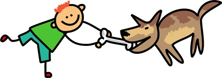 teasing: Cute stick figure illustration of a happy little boy teasing his pet dog with a bone.
