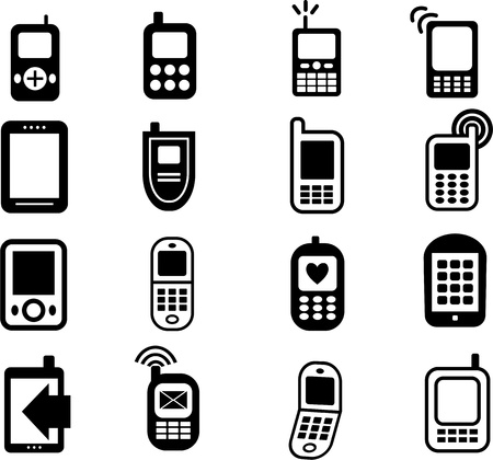 mobile telephones: A collection of 16 black mobile phone icons isolated on white. Stock Photo