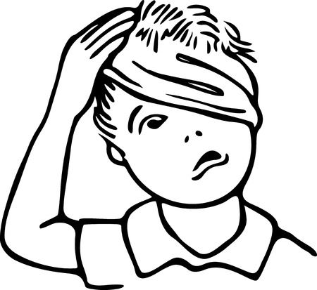 Cute line drawing of a young boy rubbing his bandaged head