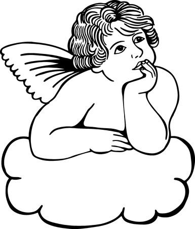 cherub: Simple black and white illustration on a cherub musing on a cloud.