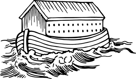 Simple black and white line drawing of Noahs ark boat floating on the water.