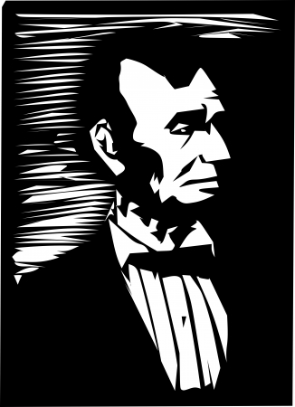 lincoln: Simple black and white illustration of the former American president Abraham Lincoln.