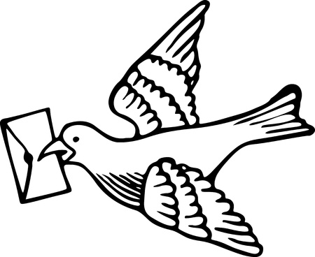 drawing dove: Simple black and white line drawing of a dove carrying a letter in it s beak