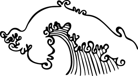 breaking wave: Simple black and white line drawing of a breaking ocean wave