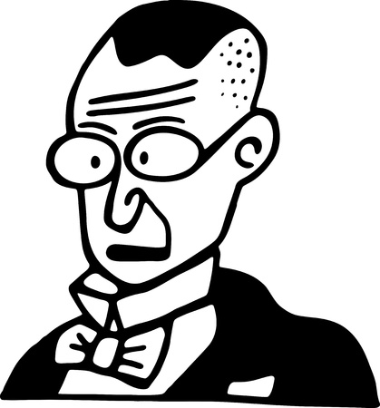 nerdy: Simple black and white line drawing of a cartoon style nerd or geek. Stock Photo
