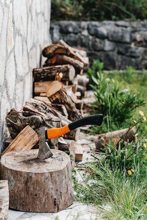 Axe for the crib logs sticks stuck in a tree Banco de Imagens