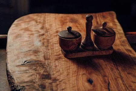 Salt shaker and pepper made of wood studio light
