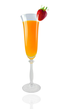 Beautiful mimosa cocktail with strawberry isolated on white background. design element photo
