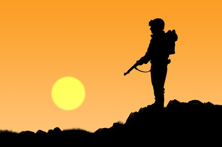 power rangers: Silhouette of soldier with a gun on a background of sunset