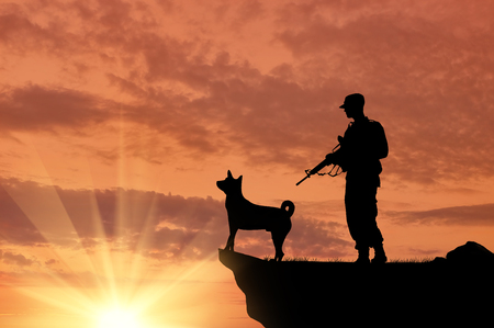 Silhouette of soldiers with weapons and dogs on the top at sunset