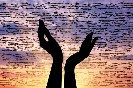 Concept of the religion of refugees. Silhouette outstretched arms to the sky against a background of barbed wire at sunset
