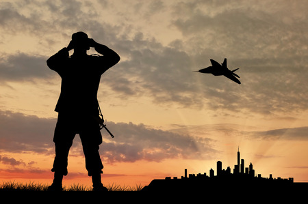 power rangers: Silhouette of a soldier and an airplane looking through binoculars over the city at sunset