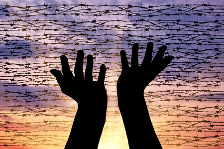 illegals: Concept of the religion of refugees. Silhouette outstretched arms to the sky against a background of barbed wire at sunset