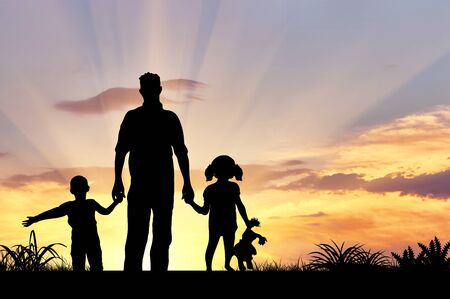 baby in hands: Silhouette of a happy family with children on the background of a sunset
