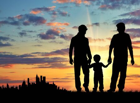 Silhouette of gay parents with a child for a walk on the background of the city away Imagens