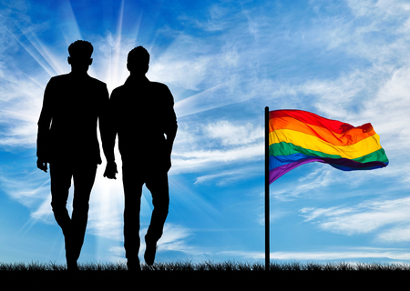 Silhouette of two gay men walking holding hands and a rainbow flag