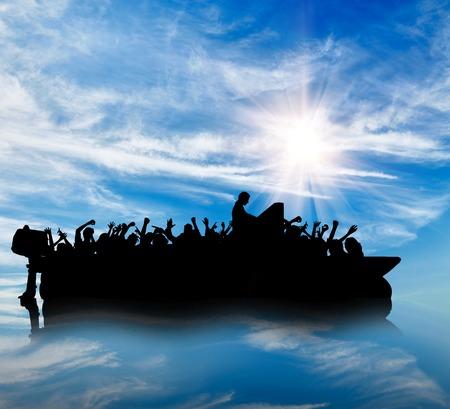 難民の概念。難民が国境の海に浮かぶ船のシルエット