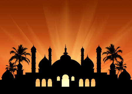 pious: Concept of the Islamic religion. Silhouette of the town hall at sunset in the rays of light Stock Photo