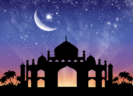 palmier: Concept of the Islamic religion. Silhouette of the town hall in the background of the starry sky and the moon Banque d'images