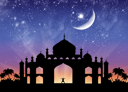 temple: Concept of the Islamic religion. Silhouette of the town hall and happy man on the background of the starry sky and the moon Stock Photo