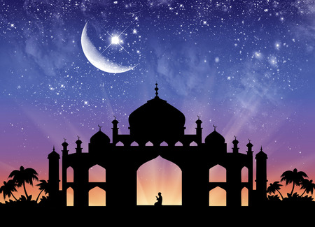 palmier: ?oncept of the Islamic religion. Silhouette of the town hall and praying men on the background of the starry sky and the moon