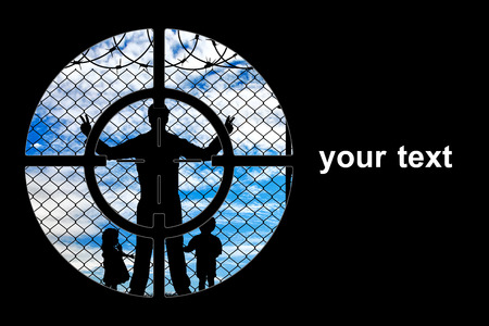 hungry children: Concept of refugee. Silhouette refugees father and two hungry children at gunpoint