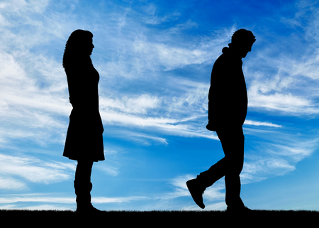 condemnation: Concept of deceit and betrayal. Silhouette man leaves from the woman to his mistress