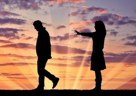strife: Concept of deceit and betrayal. Silhouette man leaves from the woman to his mistress at sunset