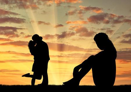 Il concetto di tradimento e tradimento. Silhouette di una donna sola guardando coppie amorose al tramonto Archivio Fotografico - 52302065
