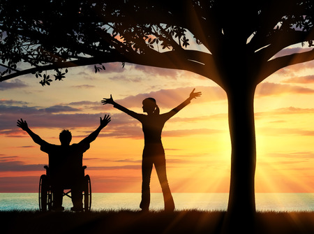 crippled: Concept of disability and disease. Silhouette happy disabled and guardian under a tree at sunset