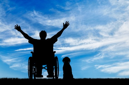 Concept of disability and disease. Silhouette happy disabled person in a wheelchair beside the dog on the background of the sky Standard-Bild