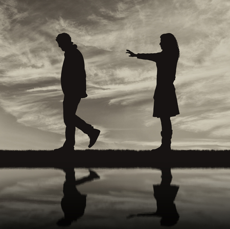condemnation: Concept of deceit and betrayal. Silhouette man leaves from the woman to his mistress and reflection